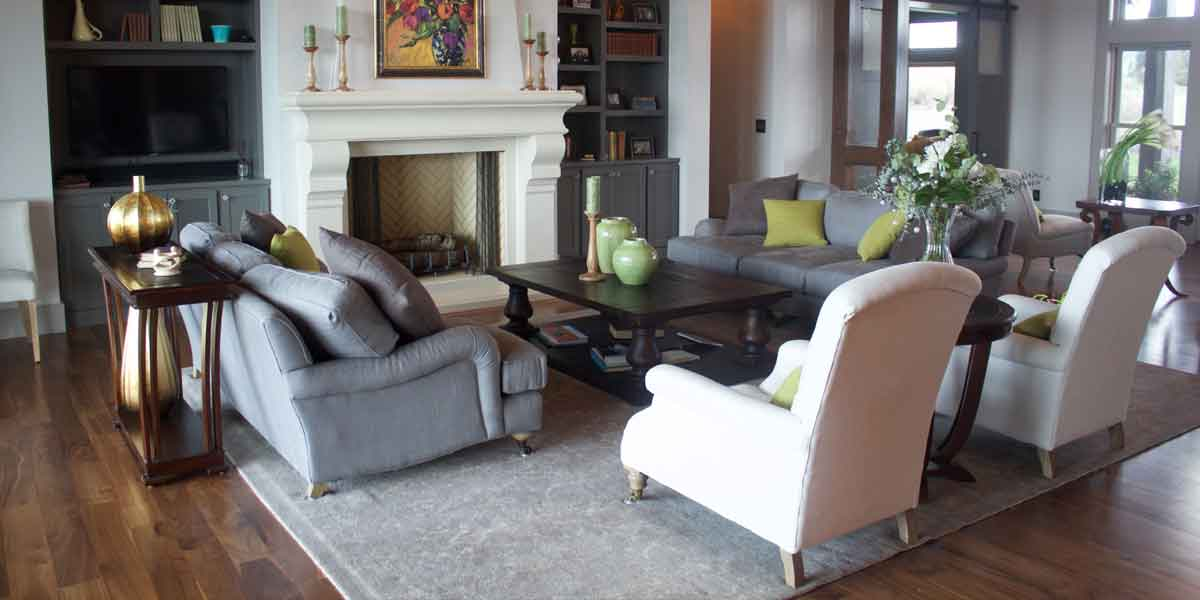 Living Area in a Modern Farmhouse by Mike Riddle Construction