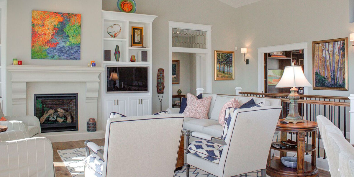 Living Area in Cape Cod Remodel by Mike Riddle Construction