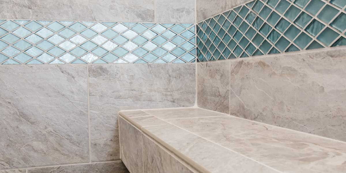 Shower Tile in a Country Ranch by Mike Riddle Construction