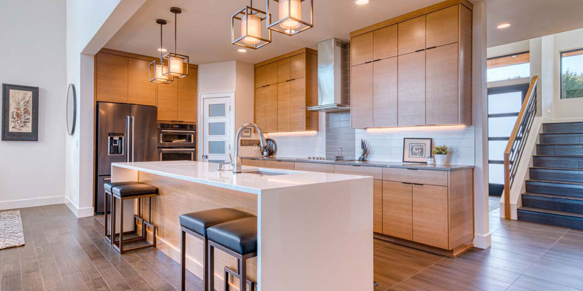 Kitchen of Modern Iconic Custom Home by Mike Riddle Construction
