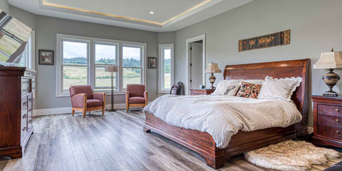 Bedroom in Modern Wine Country Farmhouse by Mike Riddle Construction