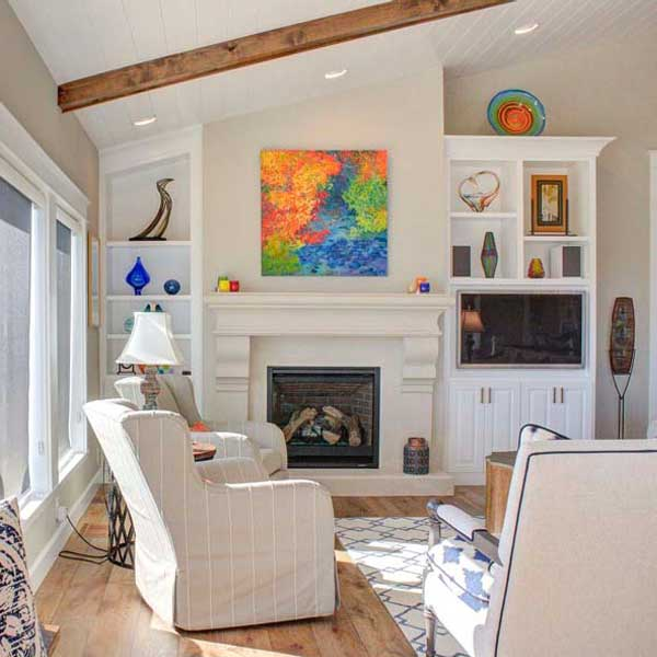 Living Area in Cape Cod by Mike Riddle Construction