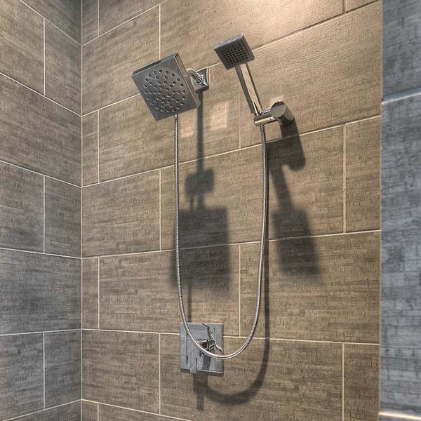 Shower in Family Retreat by Mike Riddle Construction