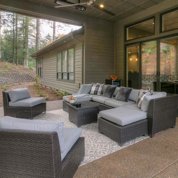 Outside Living Area in Family Retreat by Mike Riddle Construction