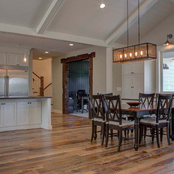 Eating Area in Contemporary Farmhouse by Mike Riddle Construction