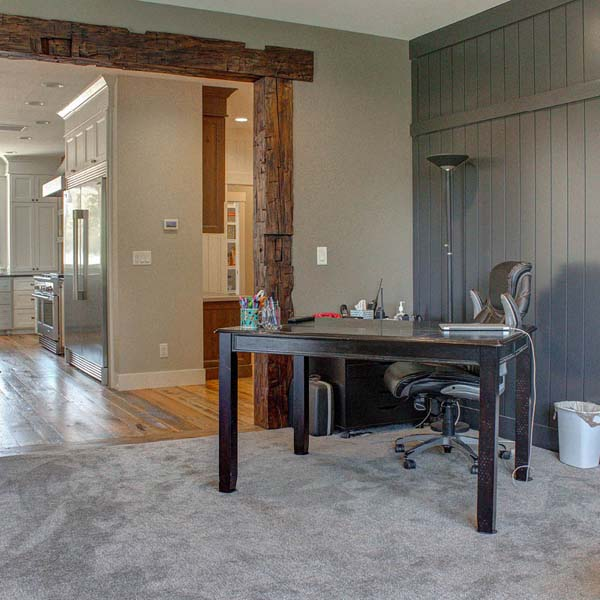 Office Area in Contemporary Farmhouse by Mike Riddle Construction