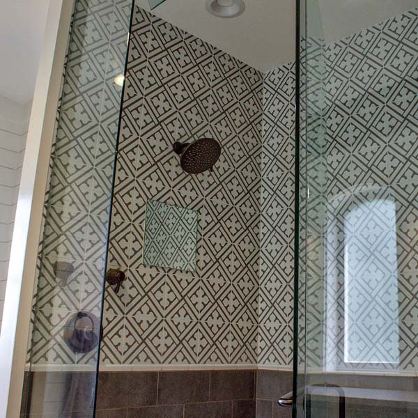 Shower in Contemporary Farmhouse by Mike Riddle Construction