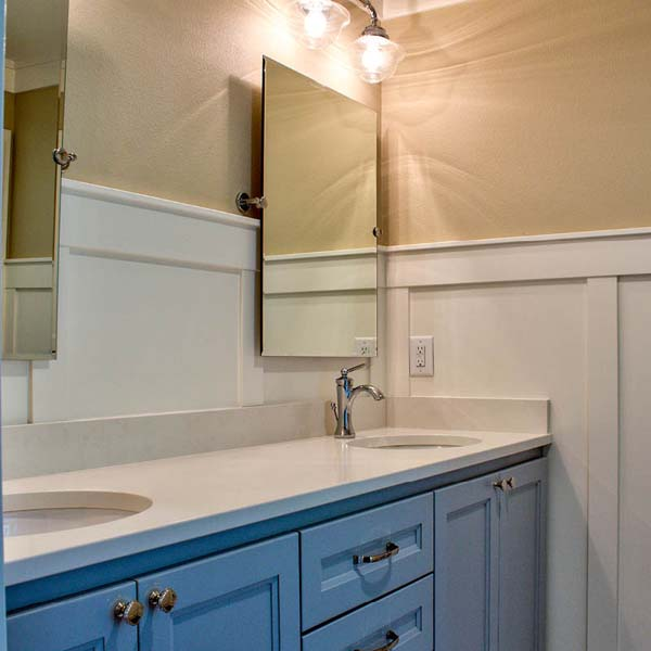 Bathroom Sinks in Contemporary Farmhouse by Mike Riddle Construction