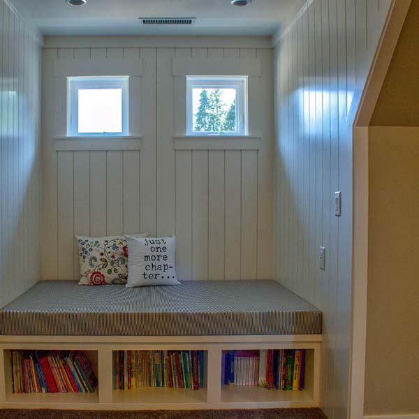 Window Seat in Contemporary Farmhouse by Mike Riddle Construction