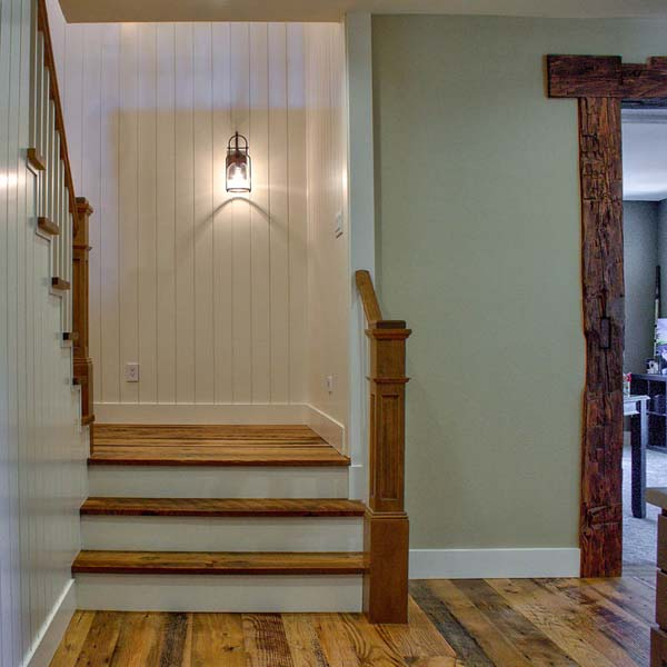 Stairway in Contemporary Farmhouse by Mike Riddle Construction