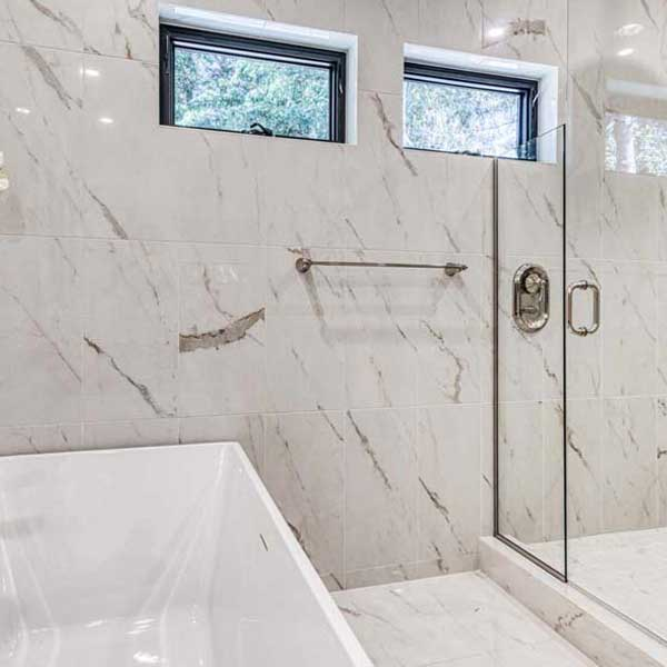 Bathroom in Modern Tudor by Mike Riddle Construction