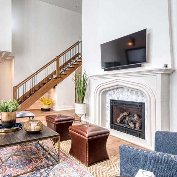 Living Area in Modern Tudor by Mike Riddle Construction