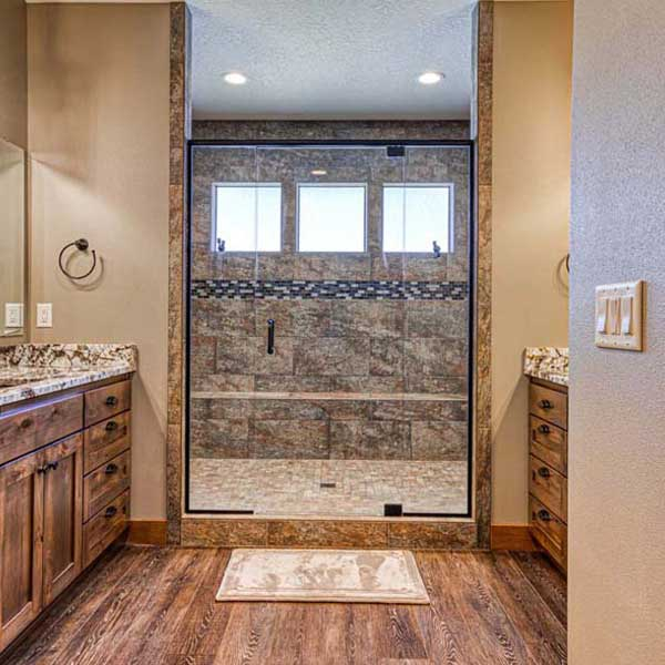Master Bath in Rustic Chic by Mike Riddle Construction